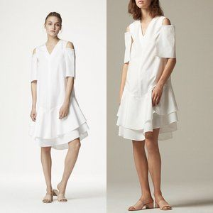 Kaelen White Cotton Shirting Double Ruffle Dress